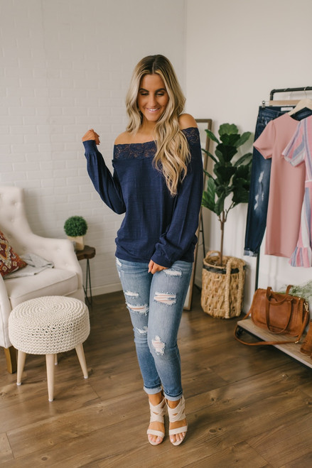 Off the Shoulder Lace Detail Sweatshirt - Navy