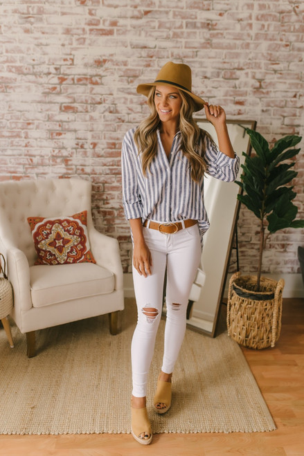 Everly Button Down High Low Top - Navy/White