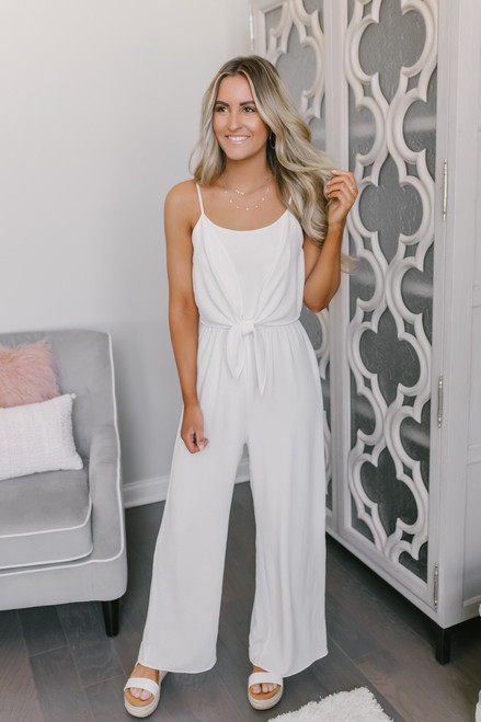 Everly Spring Classic Tie Front Jumpsuit - White