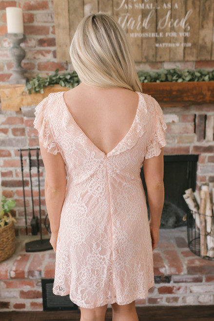Sweet Devotion Flutter Sleeve Lace Dress - Peach