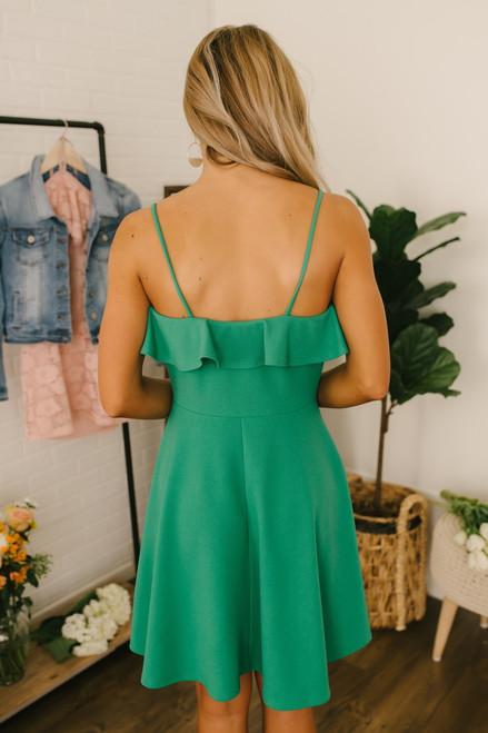 First Kiss Ruffle Detail Skater Dress - Green - FINAL SALE