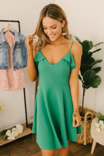 First Kiss Ruffle Detail Skater Dress - Green