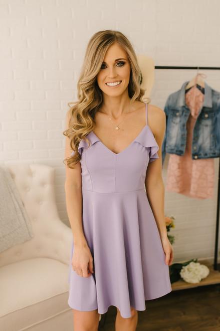 6d130d013b First Kiss Ruffle Detail Skater Dress - Lavender