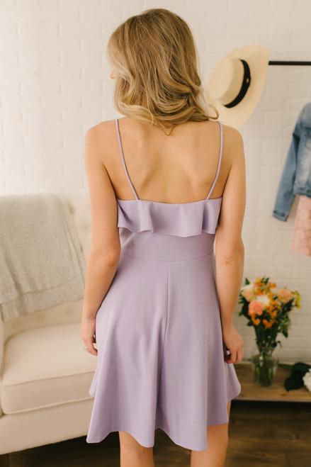 First Kiss Ruffle Detail Skater Dress - Lavender
