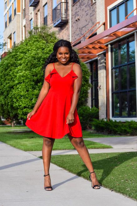 First Kiss Ruffle Detail Skater Dress - Red  - FINAL SALE