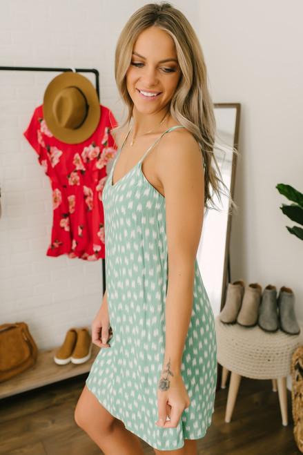 Everly Charlotte Watercolor Dot Dress - Seafoam/White