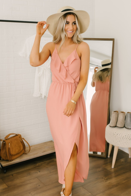 Everly Ruffle Detail Faux Wrap Maxi - Coral - FINAL SALE
