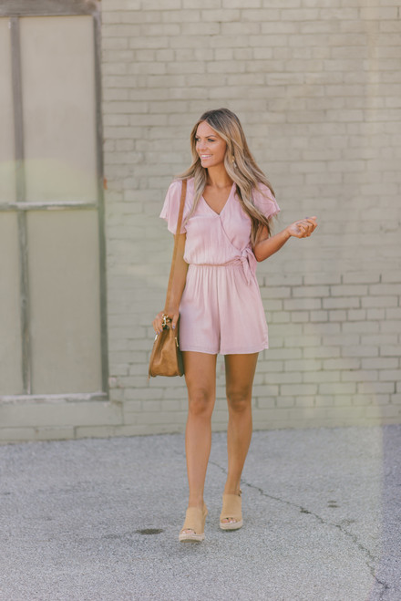 Everly Surplice Side Tie Romper - Pink/White - FINAL SALE