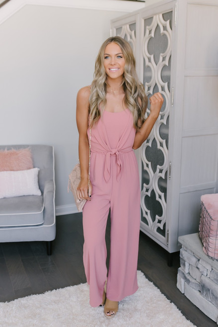 Everly Spring Classic Tie Front Jumpsuit - Mauve