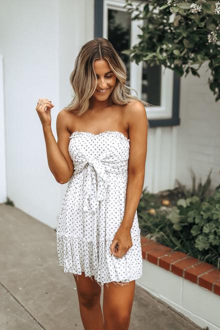 Lavender Garden Tie Front Strapless Dress - Cream/Lavender