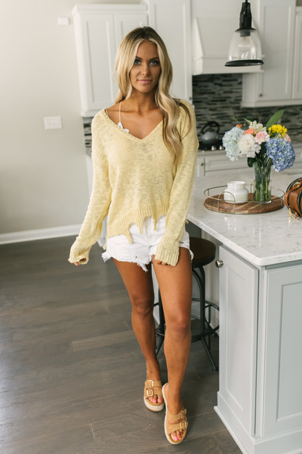 V-Neck Distressed Lightweight Sweater - Lemon Sunburst -  FINAL SALE