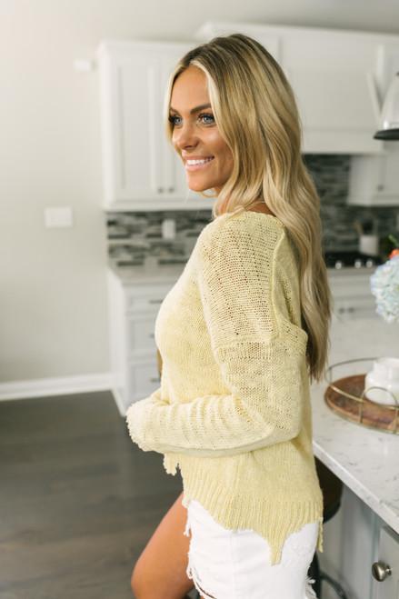 V-Neck Distressed Lightweight Sweater - Lemon Sunburst