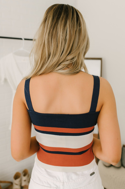 Ribbed Knit Striped Brami Tank - Navy/Rust/Ivory