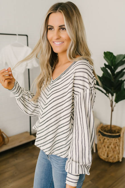V-Neck French Terry Striped Top - Cream/Black - FINAL SALE