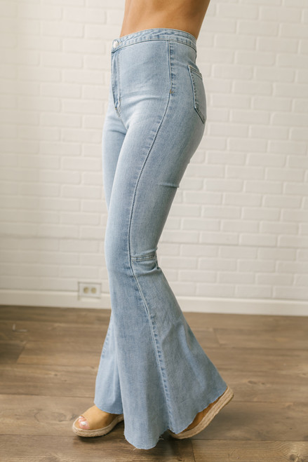 By Together Distressed Hem Faded Flare Jeans- Light Wash