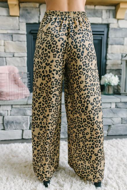 High Waist Leopard Palazzo Pants - Brown Multi  - FINAL SALE