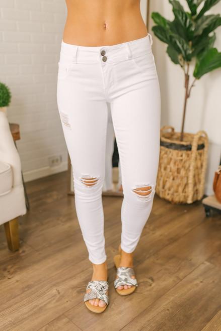 6767a4819a2 Hampton Villa Distressed Skinny Jeans - White - FINAL SALE