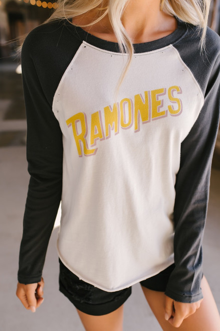 Daydreamer Team Ramones Raglan Tee - White/Black - FINAL SALE