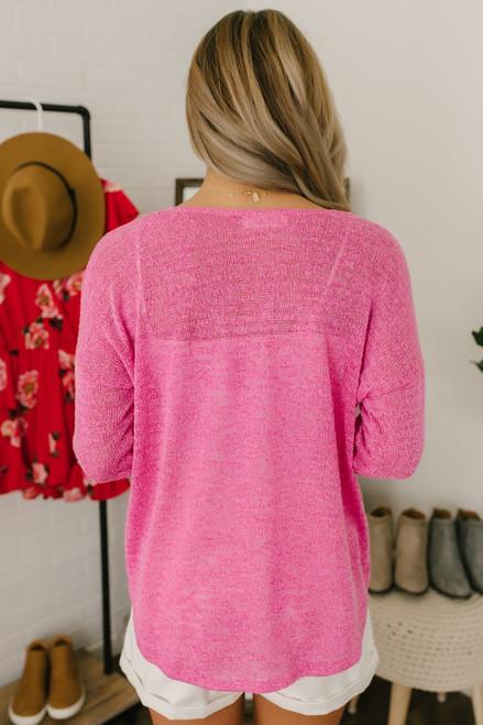 Coraline V-Neck Lightweight Sweater Top - Magenta - FINAL SALE