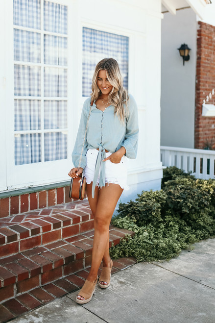 Button Down Textured Knot Top - Spring Sage- FINAL SALE