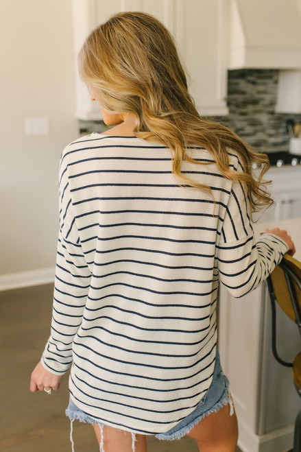 Everly Long Sleeve Striped Knit Top - Ivory/Navy