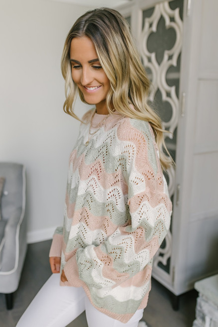 Wavy Colorblock Crochet Sweater - Pink/White/Sage - FINAL SALE
