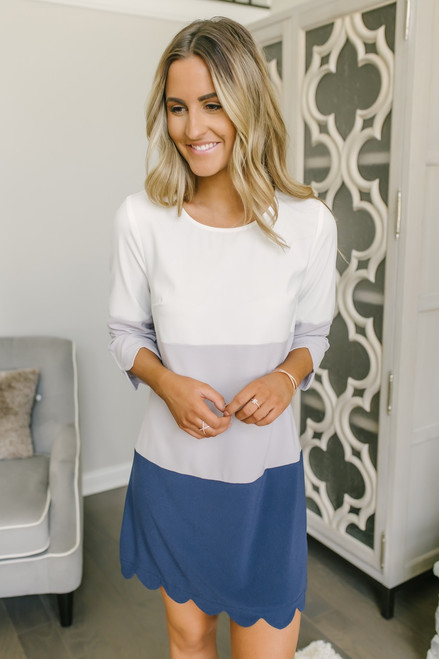 Colorblock Scalloped Shift Dress - White/Grey/Navy