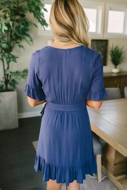 Short Sleeve Ruffle Detail Wrap Dress - Navy