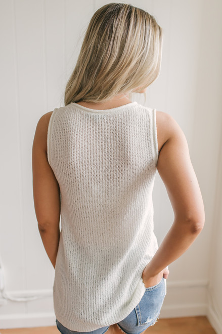 Cape Hatteras Open Knit Sweater Tank - Ivory