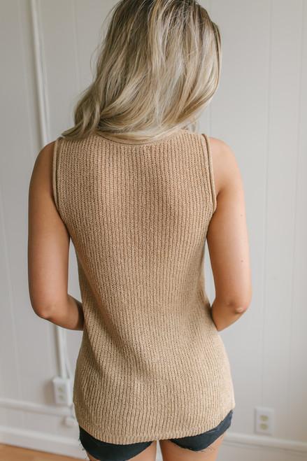 Cape Hatteras Open Knit Sweater Tank - Cappuccino