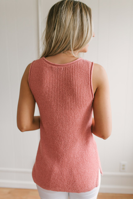 Cape Hatteras Open Knit Sweater Tank - Coral Rose