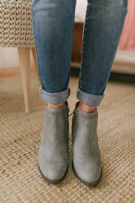 Fountain Square Perforated Bootie - Grey - FINAL SALE