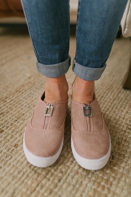 7864a44e3a15 Zip Up Perforated Slip On Sneakers - Blush