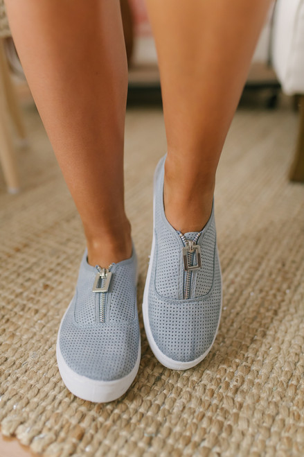 Zip Up Perforated Slip On Sneakers - Blue Grey