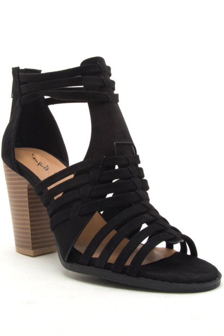 Cadence Strappy High Heeled Sandals - Black