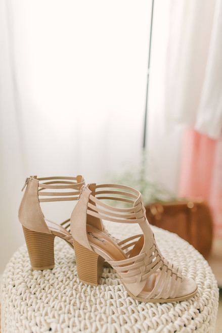Cadence Strappy High Heeled Sandals - Taupe