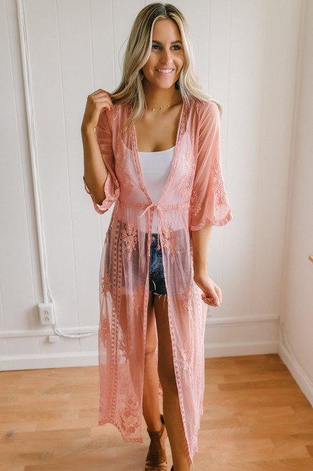 Sunset Dreams Lace Duster Kimono - Coral Pink - FINAL SALE