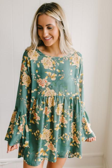 Bell Sleeve Floral Babydoll Dress - Green Multi