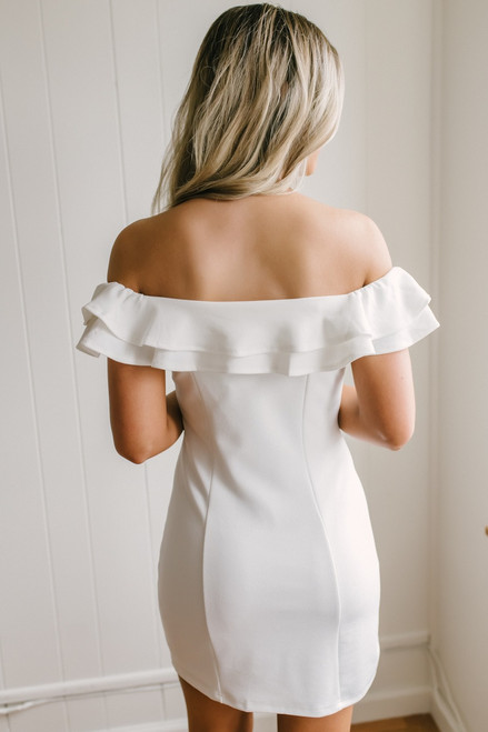Off the Shoulder Ruffle Bodycon Dress - White  - FINAL SALE
