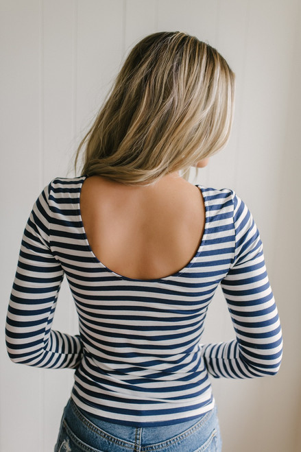Long Sleeve Striped Scoop Back Tee - Navy/White  - FINAL SALE
