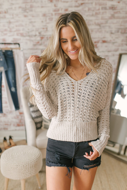 Free People Best of You V-Neck Sweater - Natural