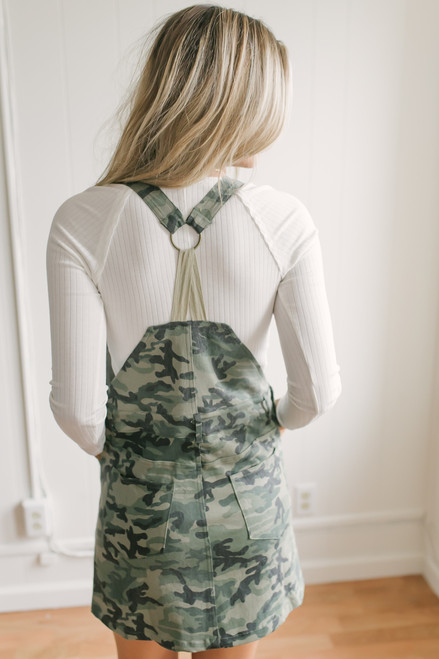 Sasha Camo Denim Overall Dress - Olive Multi  - FINAL SALE