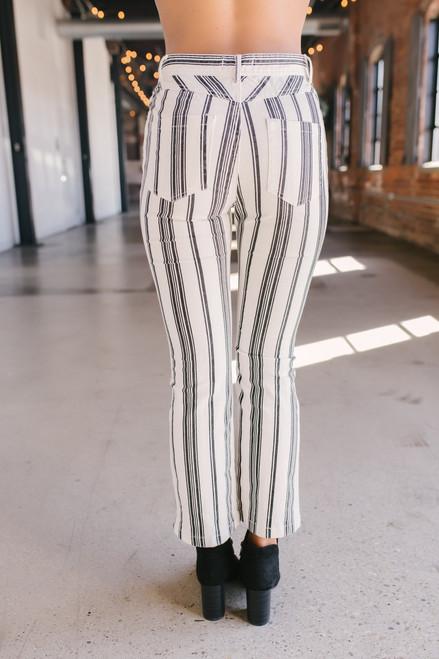 Vertical Stripe Cropped Pants - White/Black - FINAL SALE