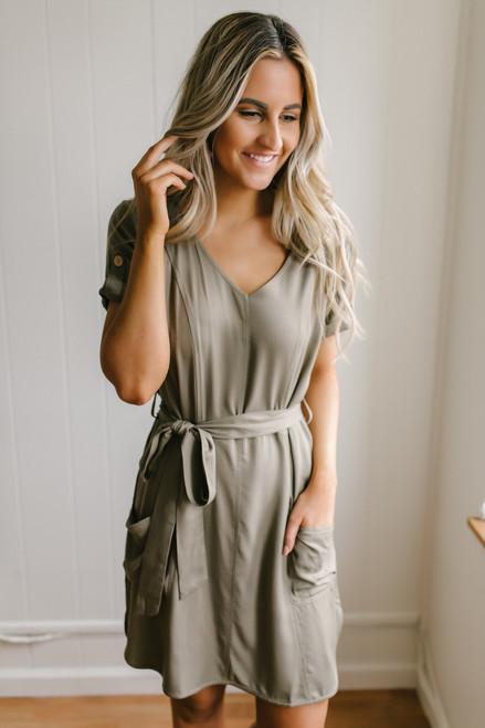 Short Sleeve Tie Waist Pocket Dress - Olive