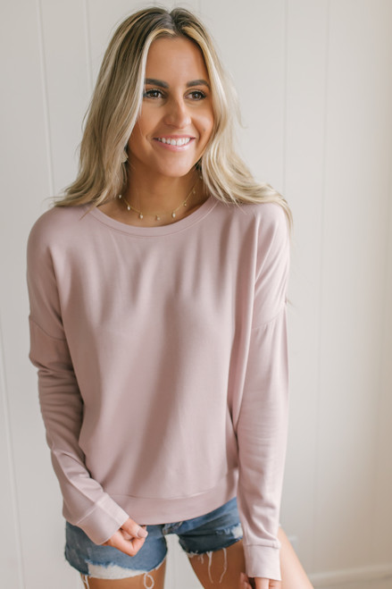 On the Run Pullover - Dusty Pink