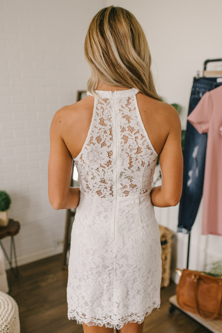 High Neck Lace Bodycon Dress - Off White