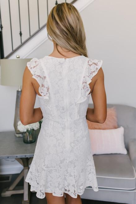 Cap Sleeve Ruffle Detail Lace Dress - White - FINAL SALE