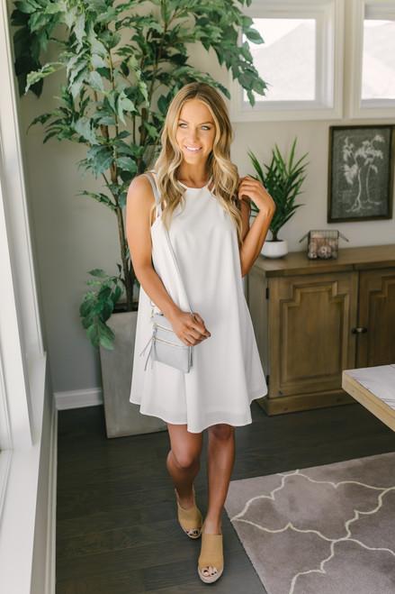 Jasmine Cage Strap A-Line Dress - White - FINAL SALE