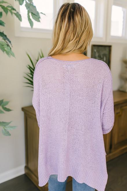Open Knit High Low Sweater - Lavender  - FINAL SALE