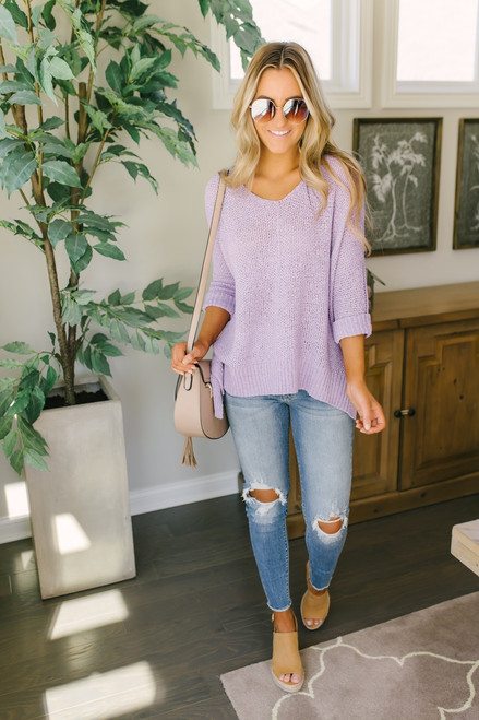 Open Knit High Low Sweater - Lavender